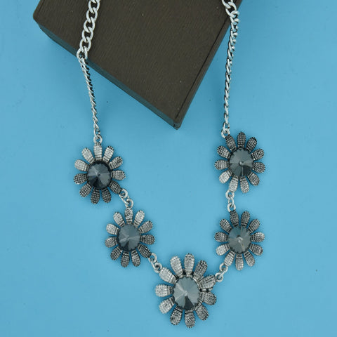 Floral Black Crystal Antique Oxidized Slver Plated Necklace
