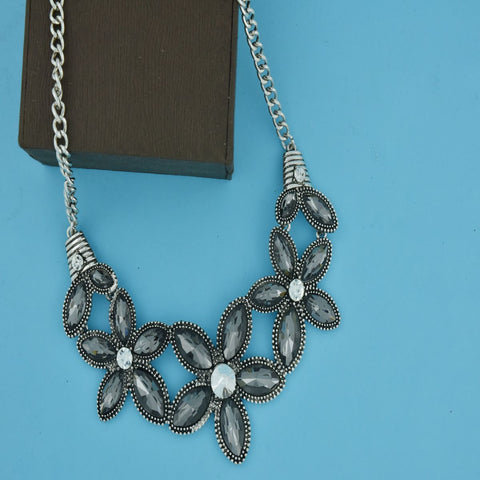 Large Flower Grey Crystal Antique Oxidized Slver Plated Necklace