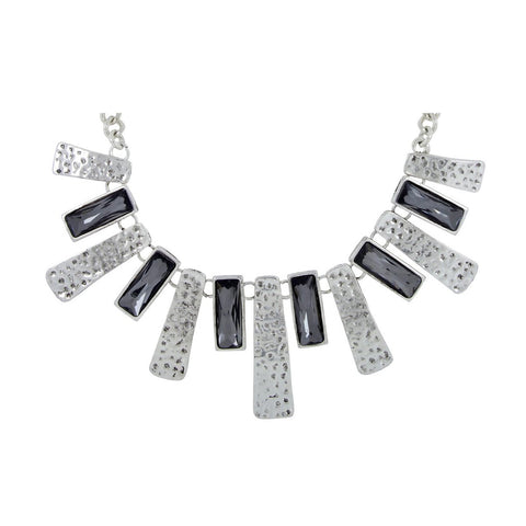 Trendy Geometric Grey Crystal Cz American Diamond Silver Necklace