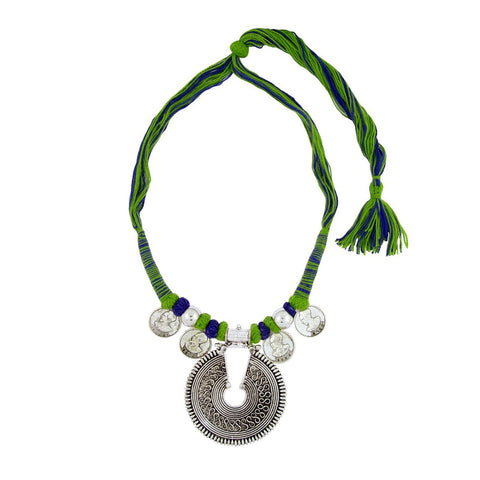 Coin Tibetan Bohemian Tribal Dori German Silver Blue Green Necklace