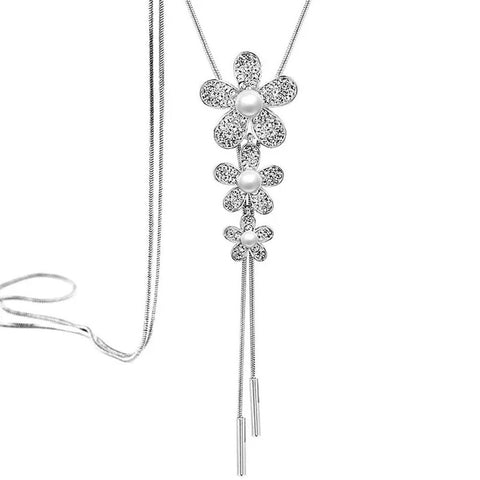 Flower Pearl Cz Silver Western Dress Wear Sweater Long Chain Necklace