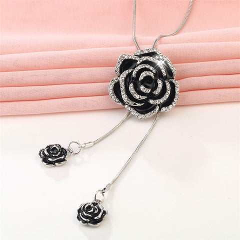 Rose Flower Enamel Black Silver Western Dress Party Sweater Necklace