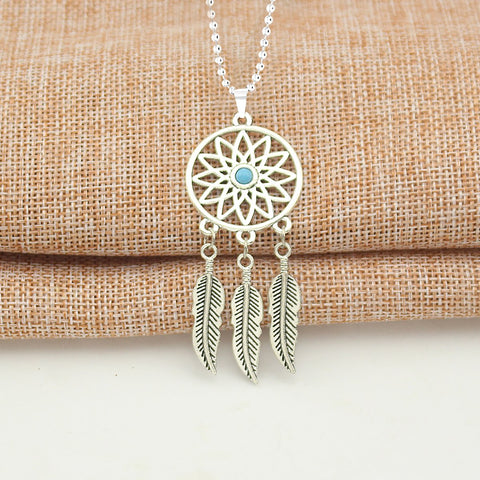 Dream Catcher Feather Oxidised Bohemian German Silver Pendant Chain