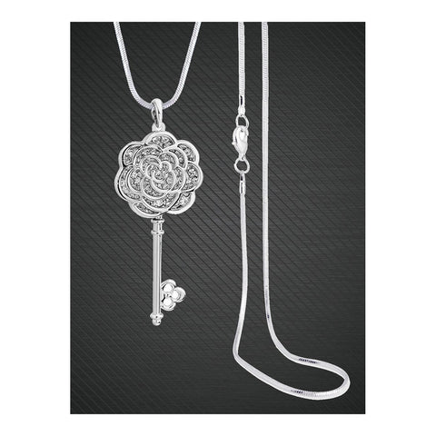 Flower Key Sweater Cystal Diamond Party Chain Pendant Necklace