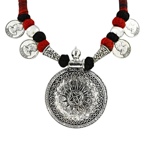 Oxidised Coin Afghani Tribal German Silverthread Necklace