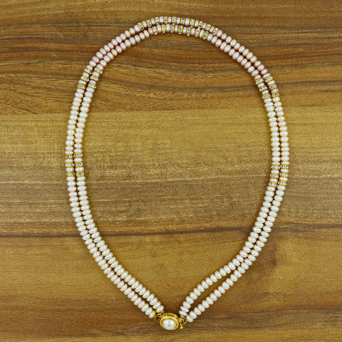 18K Gold American Diamond Cz Pearl Brass Coller Necklace Chain