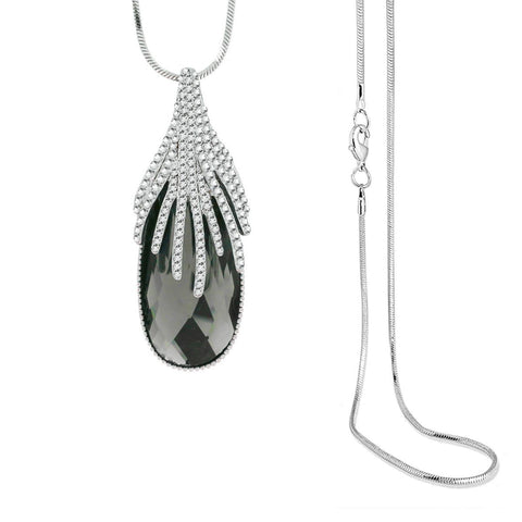 Austrian Crystal Cz Black Silver Long Sweater Necklace Pendant Chain