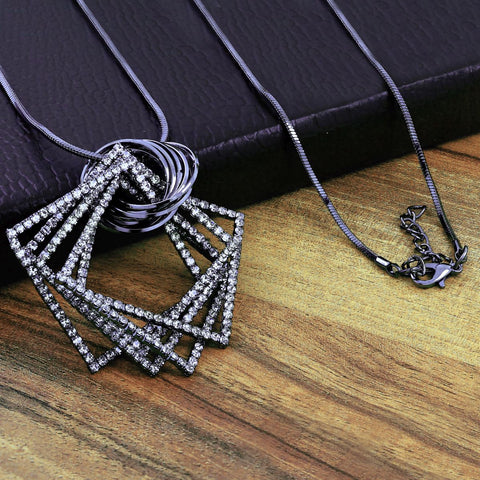 Western Party Sweater Diamond Sweater Long Pendant Chain Necklace