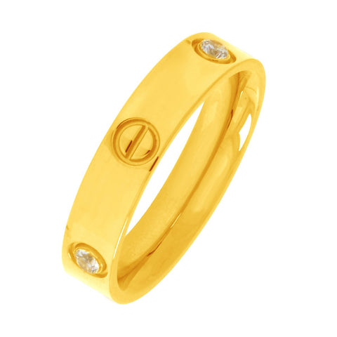 18k gold plated 316l surgical stainless steel screw wedding engagement band ring for men