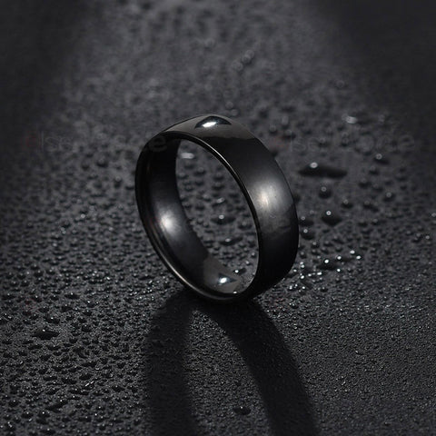 Stylish Engagement Promise Stainless Steel Never Fade Black Band Ring