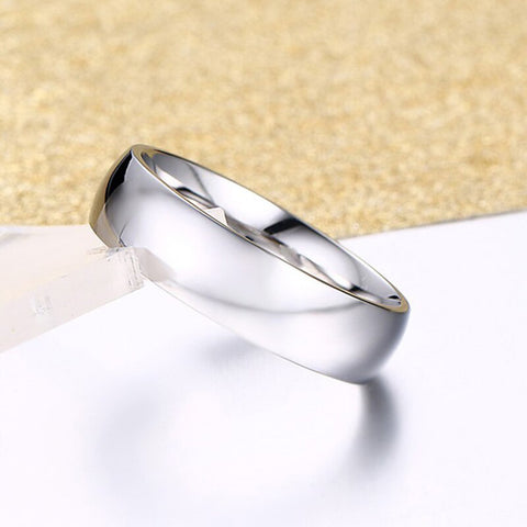 Stylish Engagement Promise Stainless Steel Never Fade Silver Band Ring