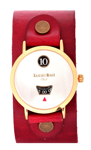 18K Gold Handcrafted Cherry Red Leather Stap Digital White Watch
