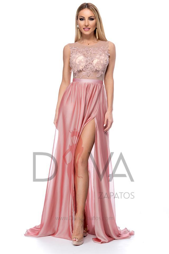 Vestido largo color rosa marca BBY RL023