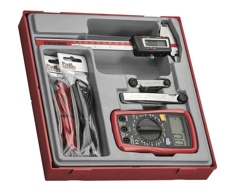Teng Tools 4 Piece Digital Caliper, Multimeter and Gauge Mechanics Measuring Tool Set - TTDCM