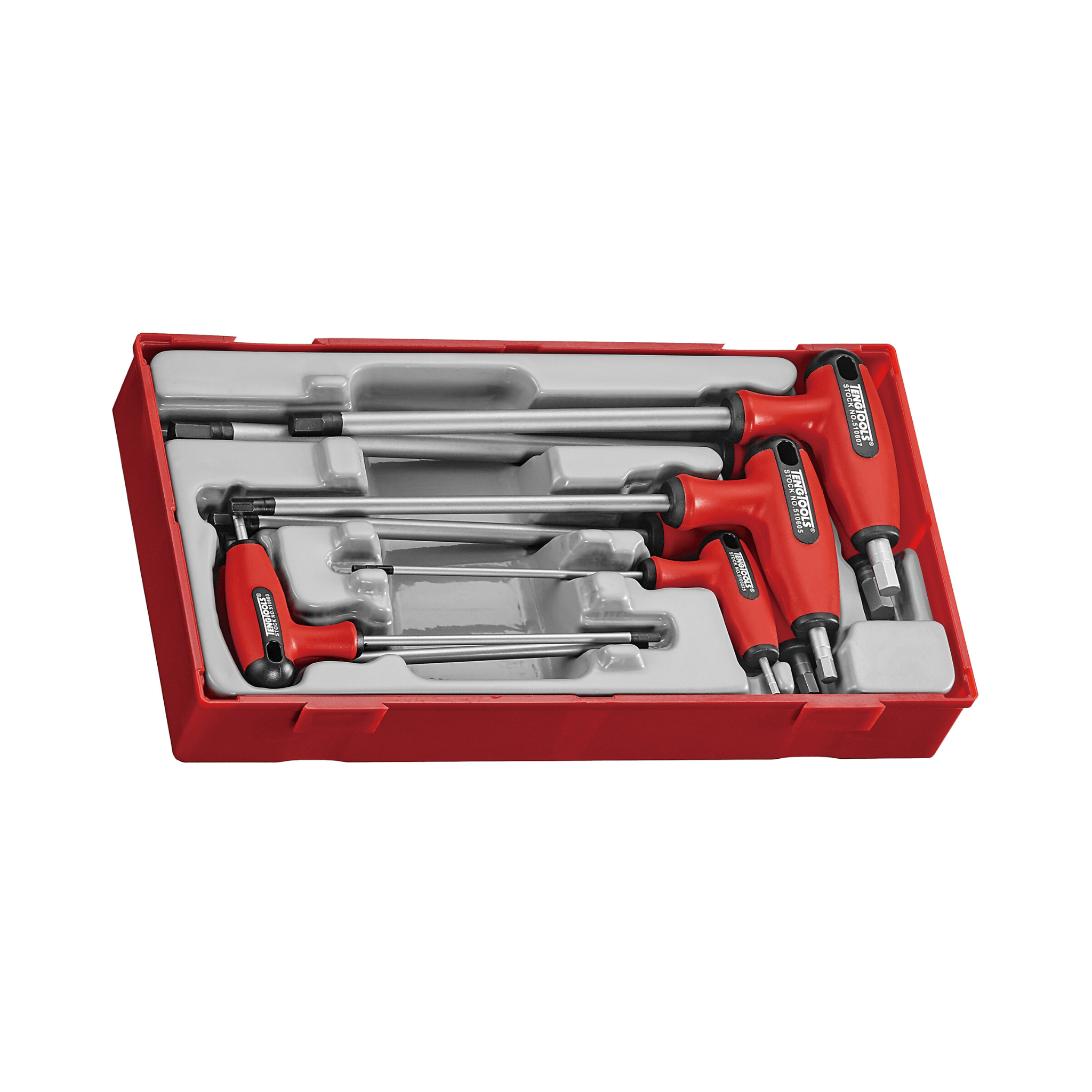 Teng Tools 7 Piece Metric T Handle Hex Key Allen Wrench Driver Set (2.5MM to 8MM) - TTHEX7S