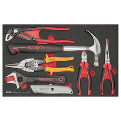 Teng Tools 7 Piece Claw Hammer, Adjustable Wrench, Utility Knife, Tin Snips and Plier Set - TEFMB7