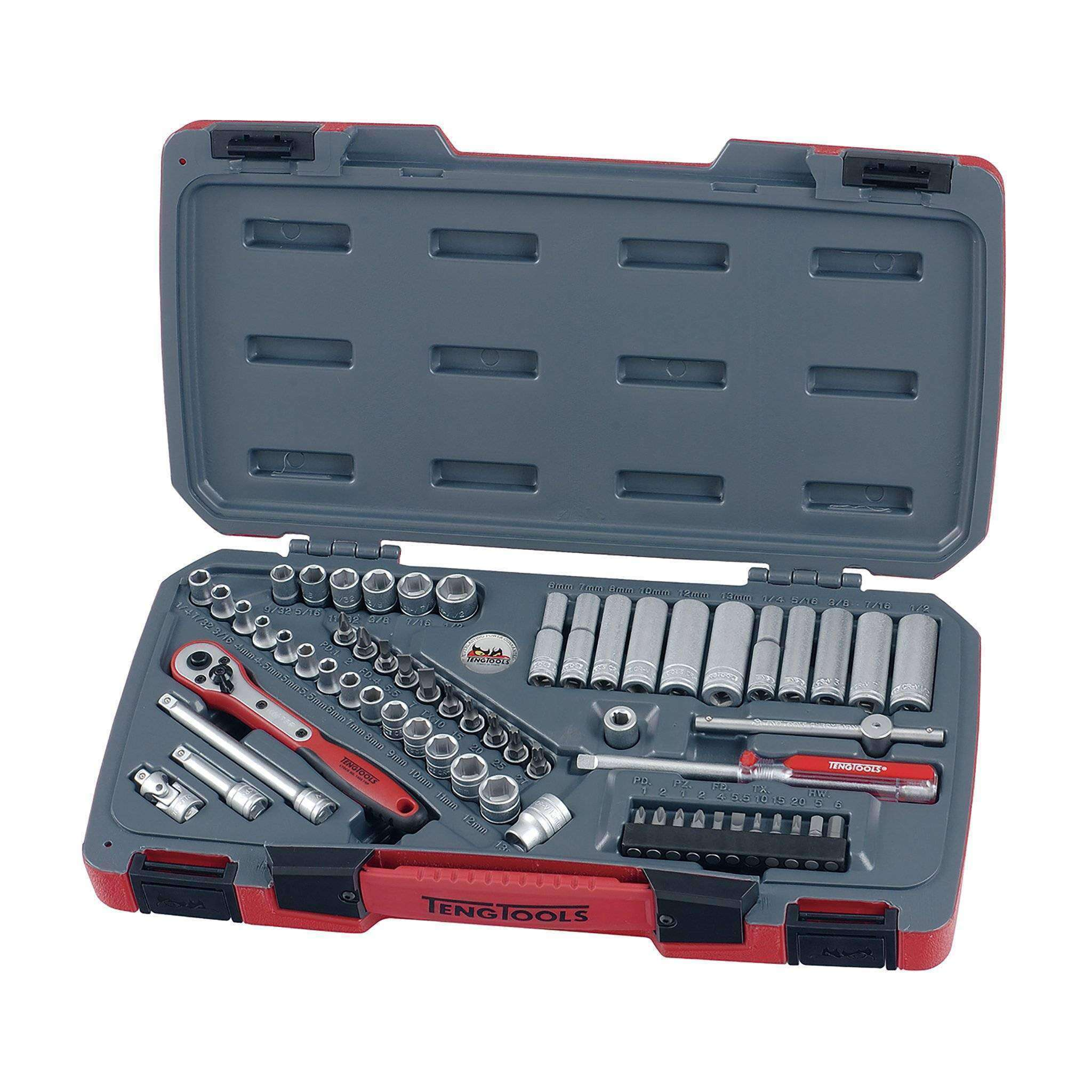 Teng Tools T1460 - 60 Piece 1/4 inch Drive Socket Set - Teng Tools USA