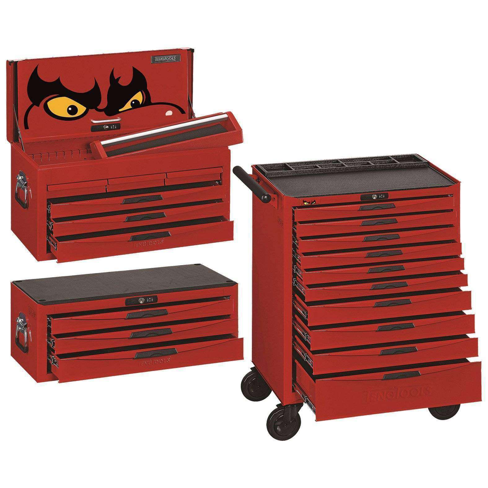 Teng Tools 8 Series 10 Drawer Roller Cabinet, 3 Drawer Middle and 6 Drawer Top Box - Teng Tools USA