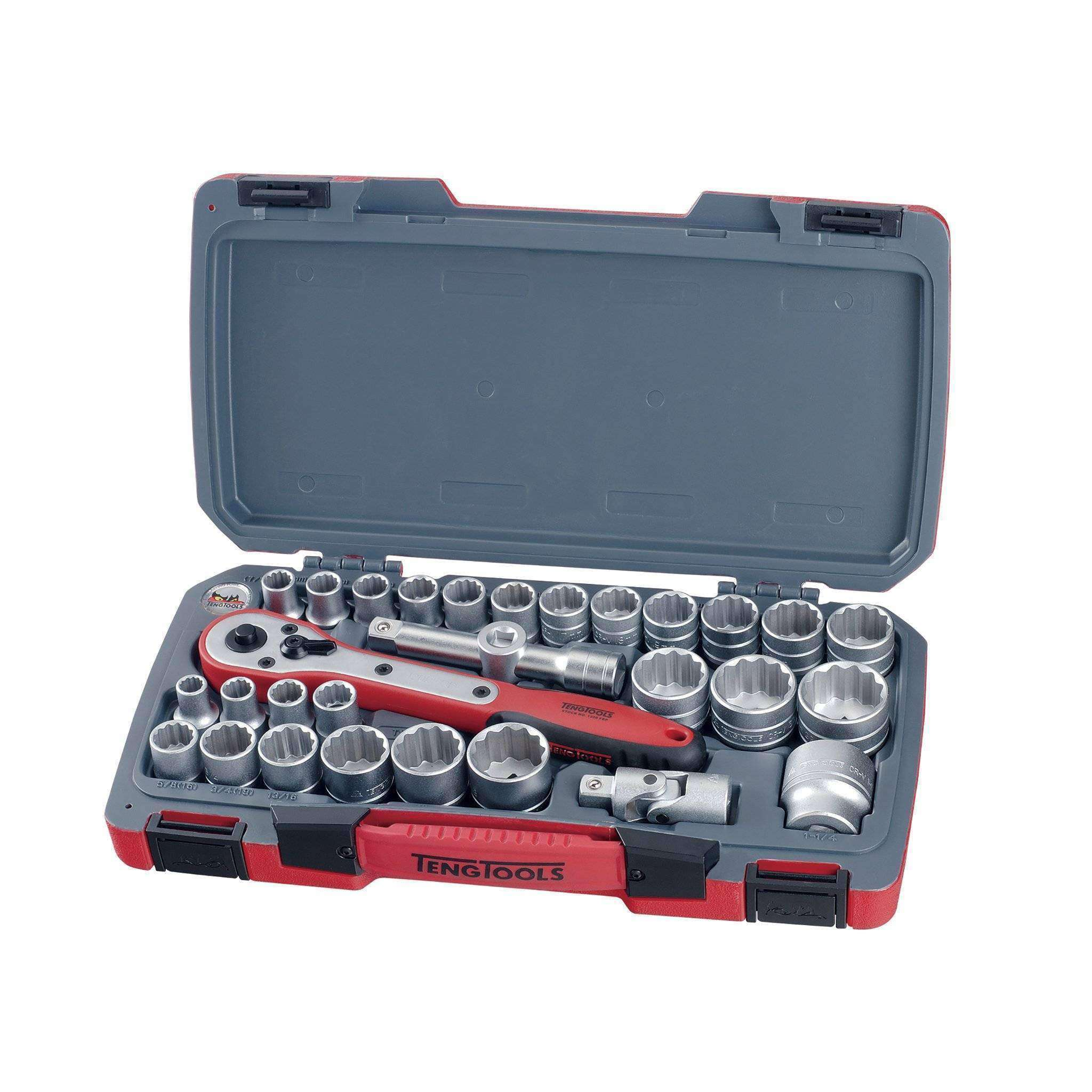 "Teng Tools - 30 Piece 1/2"" Drive 12 Point Metric and SAE Socket Set - TEN-O-T1230 - Teng Tools USA"