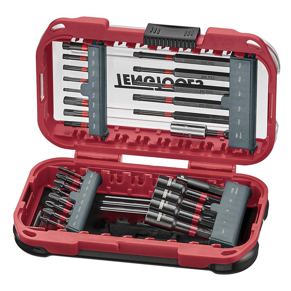 Teng Tools 27 Piece 1/4 Inch Hex Drive Philips, Torx, Hex Impact Bits and Accessories Set - TBBSI27