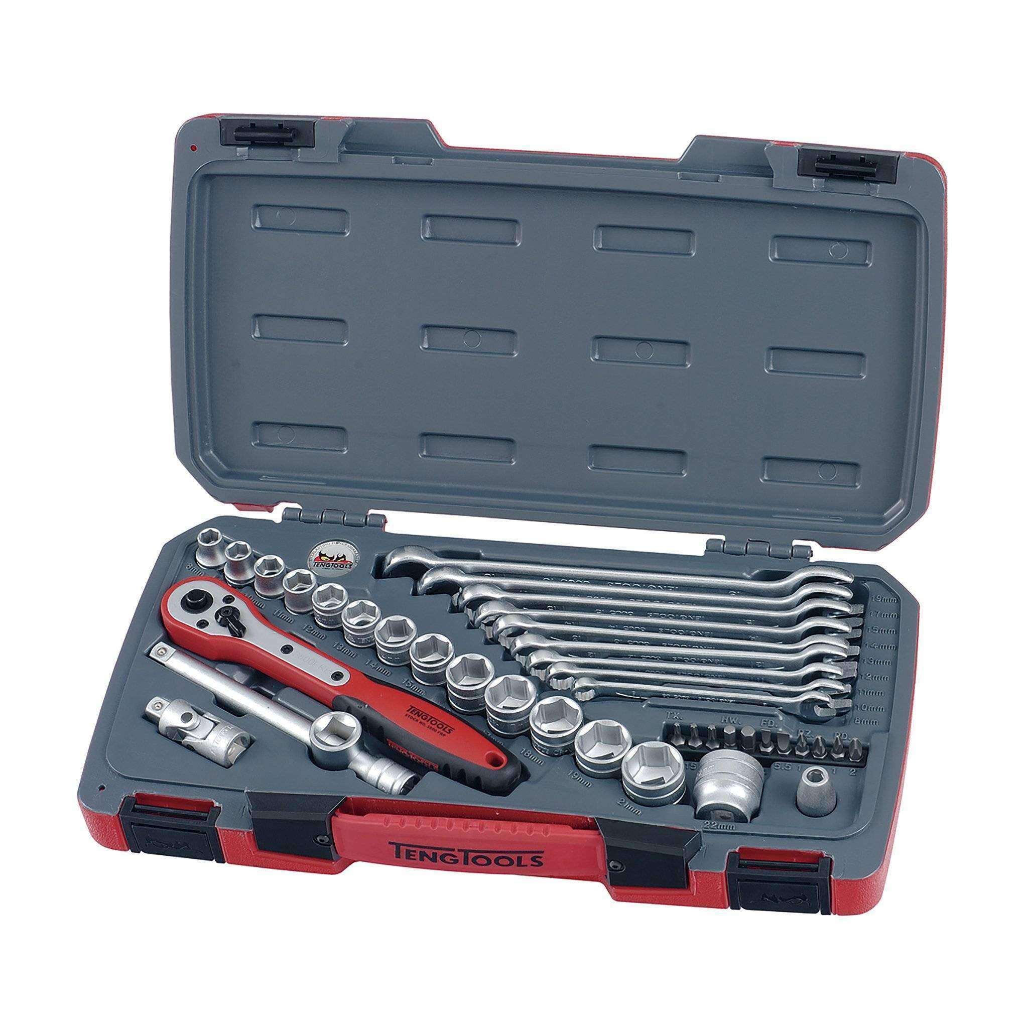 Teng Tools - 39 Piece 3/8 inch Drive Socket and Wrench Set - TEN-O-T3840 - Teng Tools USA