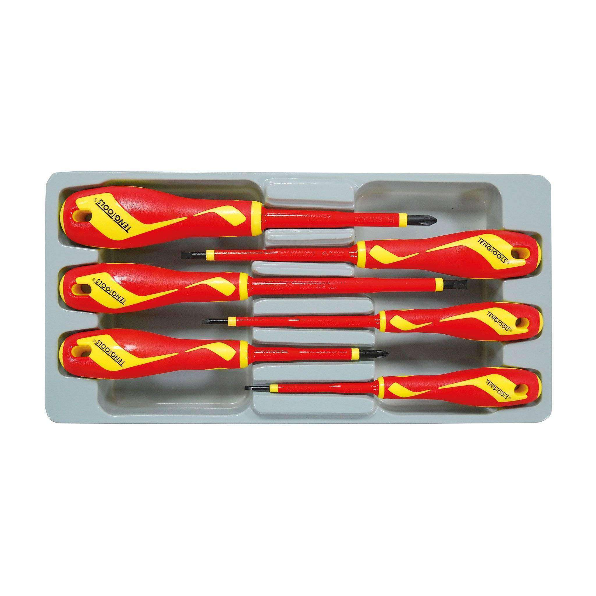 Teng Tools MDV906N - 6 Piece 1000 Volt Insulated Screwdriver Set (Flat, PH) - Teng Tools USA