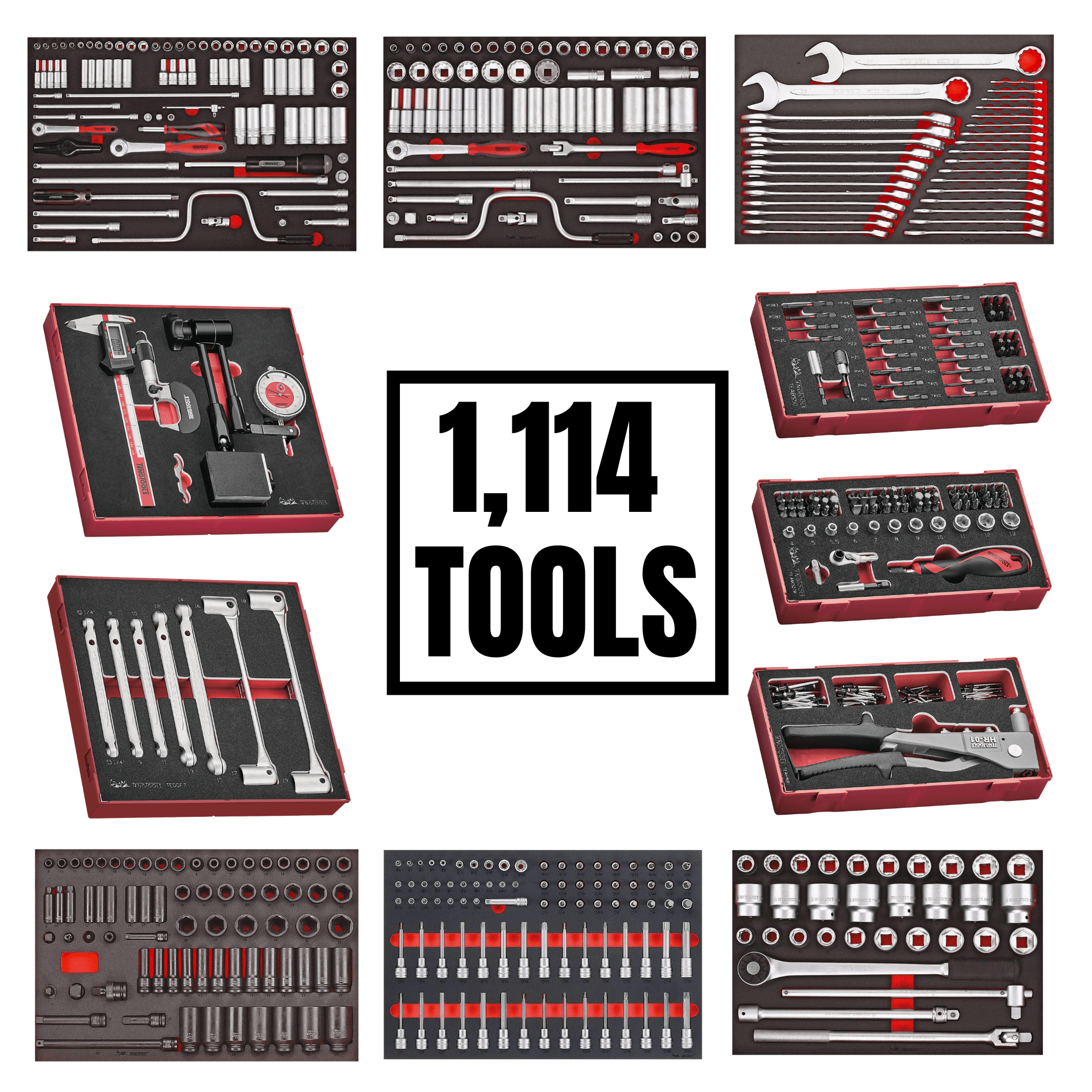 Teng Tools 1,114 Piece Ultimate EVA Monster Mega Tool Kit Bundle (No Storage) - MONSTEREVATOOLS
