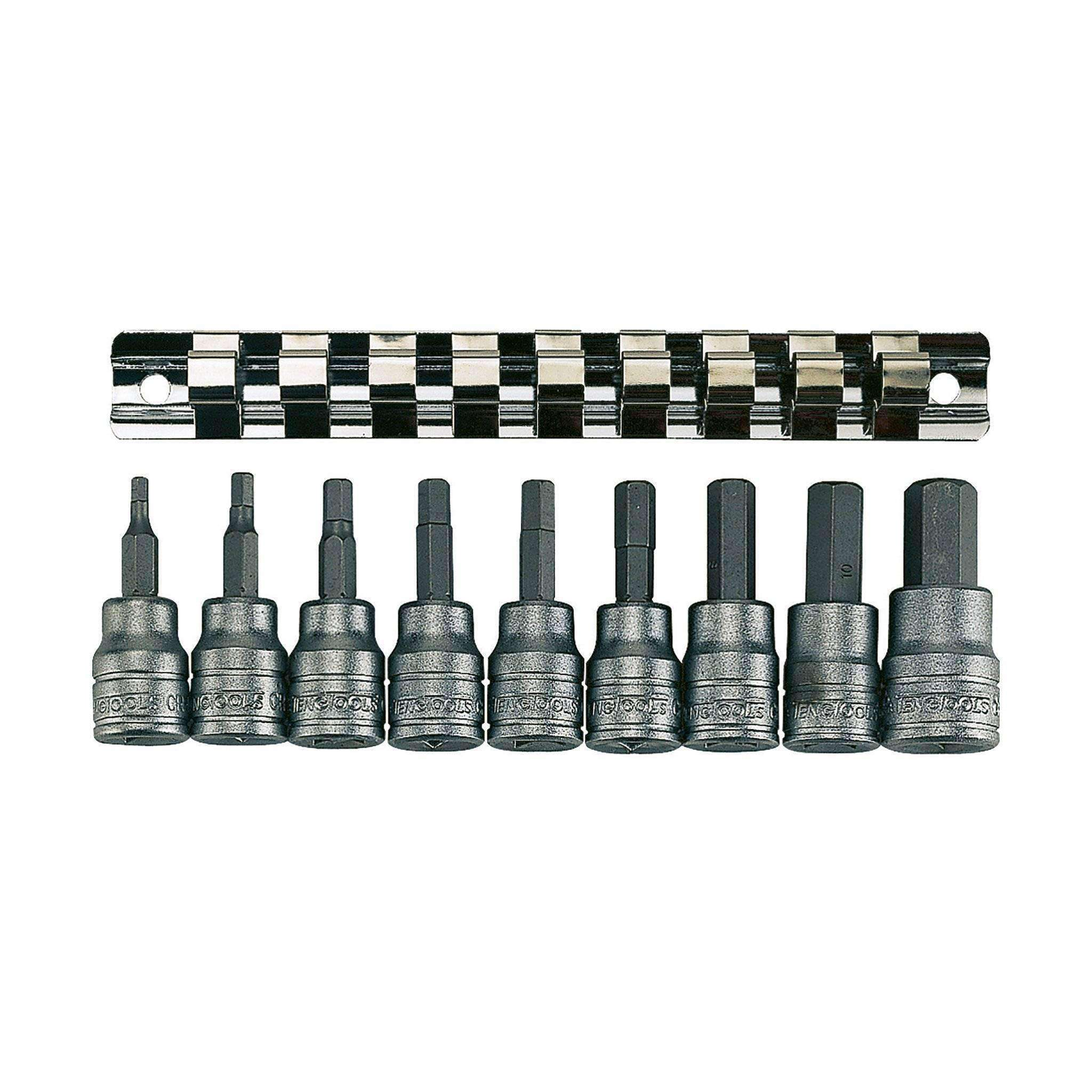 Teng Tools M3812 - 9 Piece 3/8 inch Drive Metric Hex Bit Socket Set - Teng Tools USA