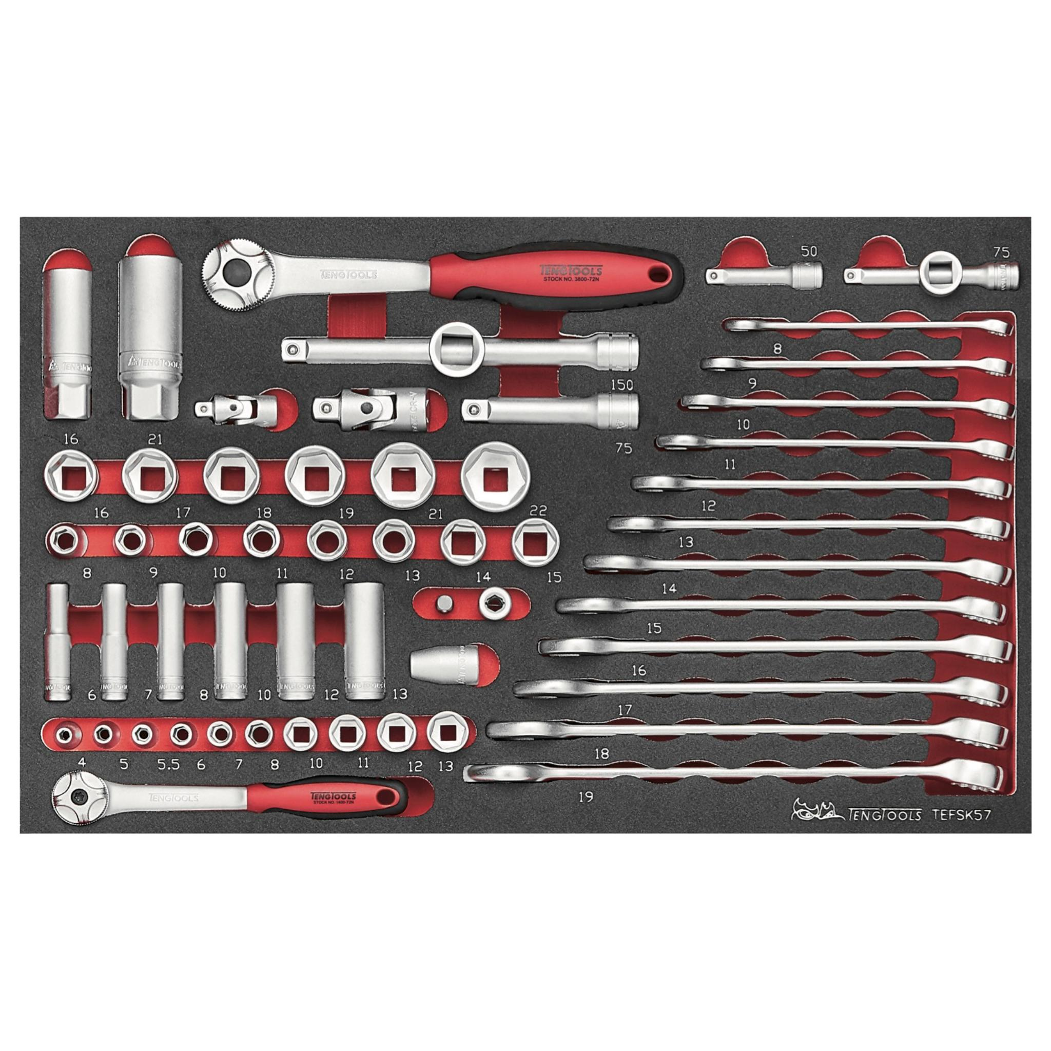 Teng Tools 57 Piece 1/4 & 3/8 Inch Combination Wrench, Regular/Deep Sockets & Accessories - TEFSK57