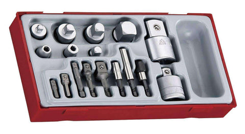 Teng Tools - 17Pc Adapter Set for 1/4, 3/8, 1/2 and 3/4 inch Sockets - TEN-O-TTADP17 - Teng Tools USA