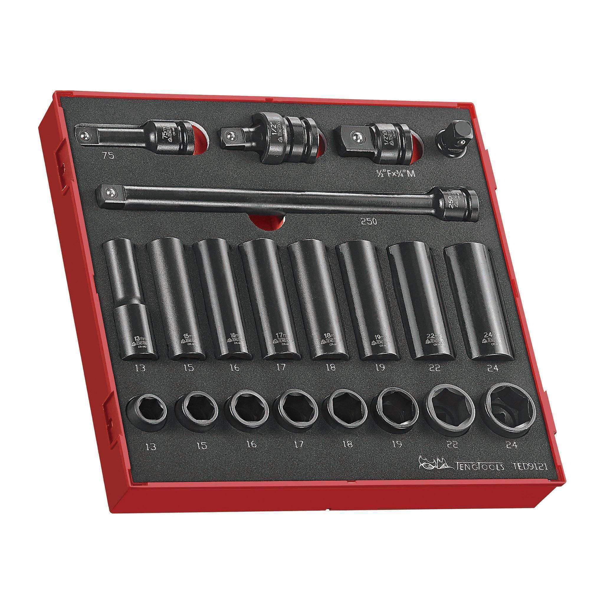 Teng Tools - 21 Piece 1/2 inch Drive Impact Socket Set in EVA Tray - TEN-O-TED9121 - Teng Tools USA