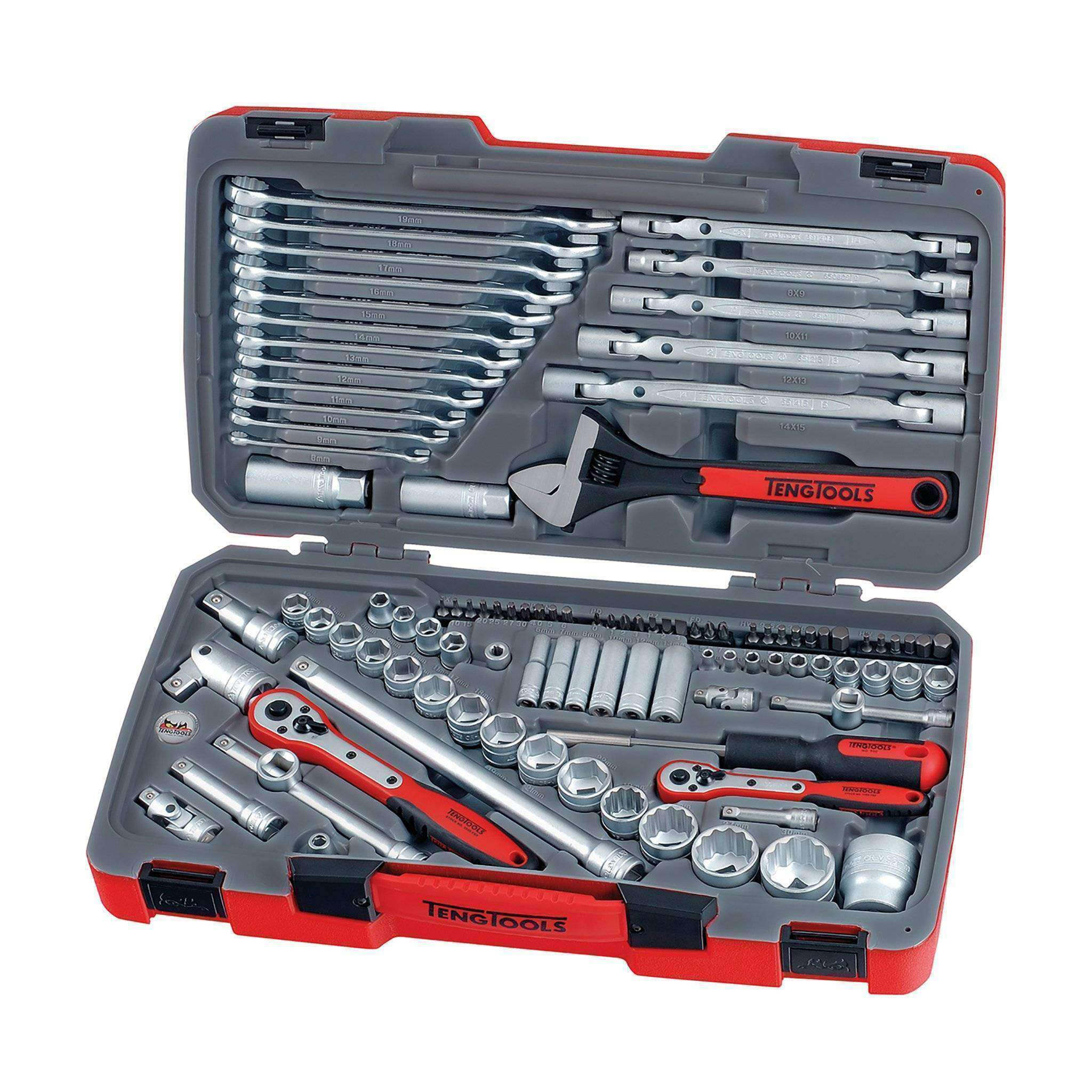 Teng Tools - 106 Piece Mixed Drive Socket Set 1/4, 3/8, 1/2 Inch - TEN-O-TM106 - Teng Tools USA