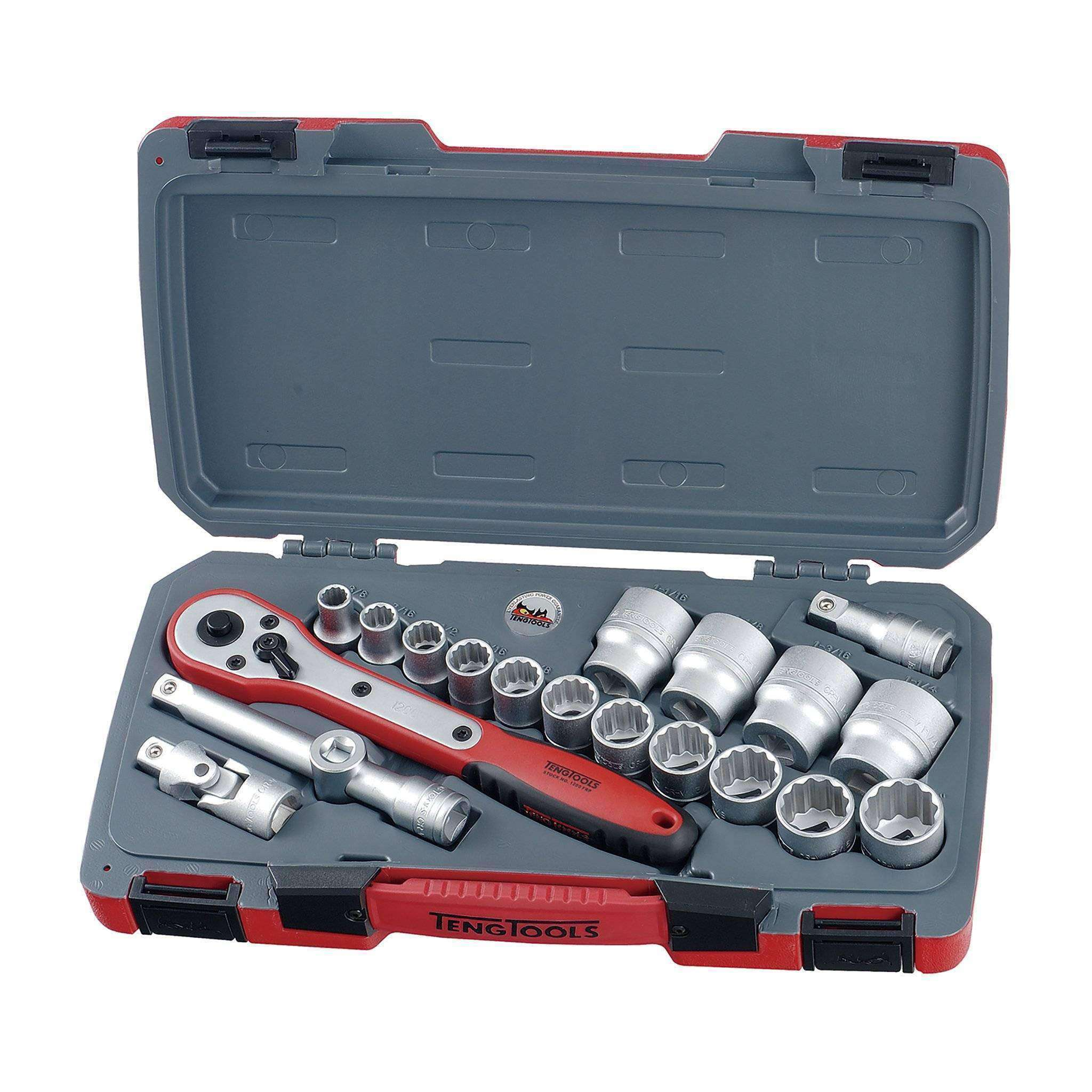 Teng Tools - 20 Piece 1/2 inch Drive Imperial / SAE Socket Set - TEN-O-T1220AF - Teng Tools USA