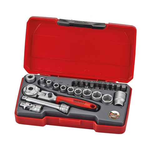 Teng Tools 24 Piece 1/4 Inch Drive 6 Point Metric Regular/Shallow Socket Set - T1424S