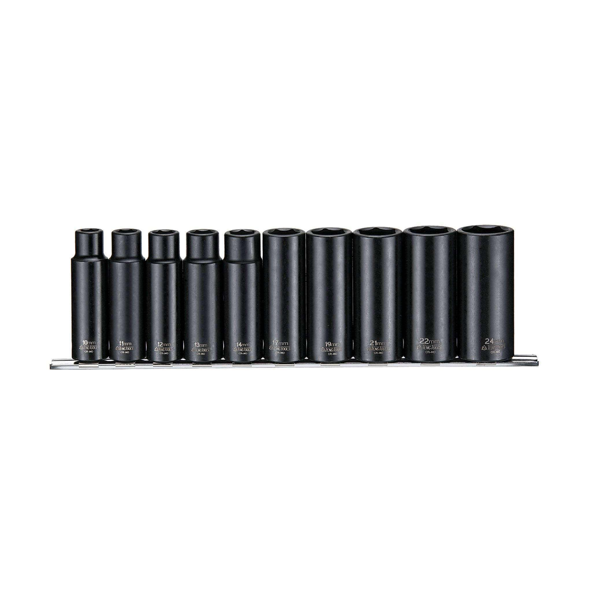 10 Piece 1/2 Inch Drive 6 Point Deep Metric Impact Socket Set - Teng Tools 9126 - Teng Tools USA