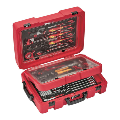 Teng Tools 118 Piece Screwdriver, Plier, Hammer, Socketry & Wrench Service Case Foam Organization Tool Kit - SCE1