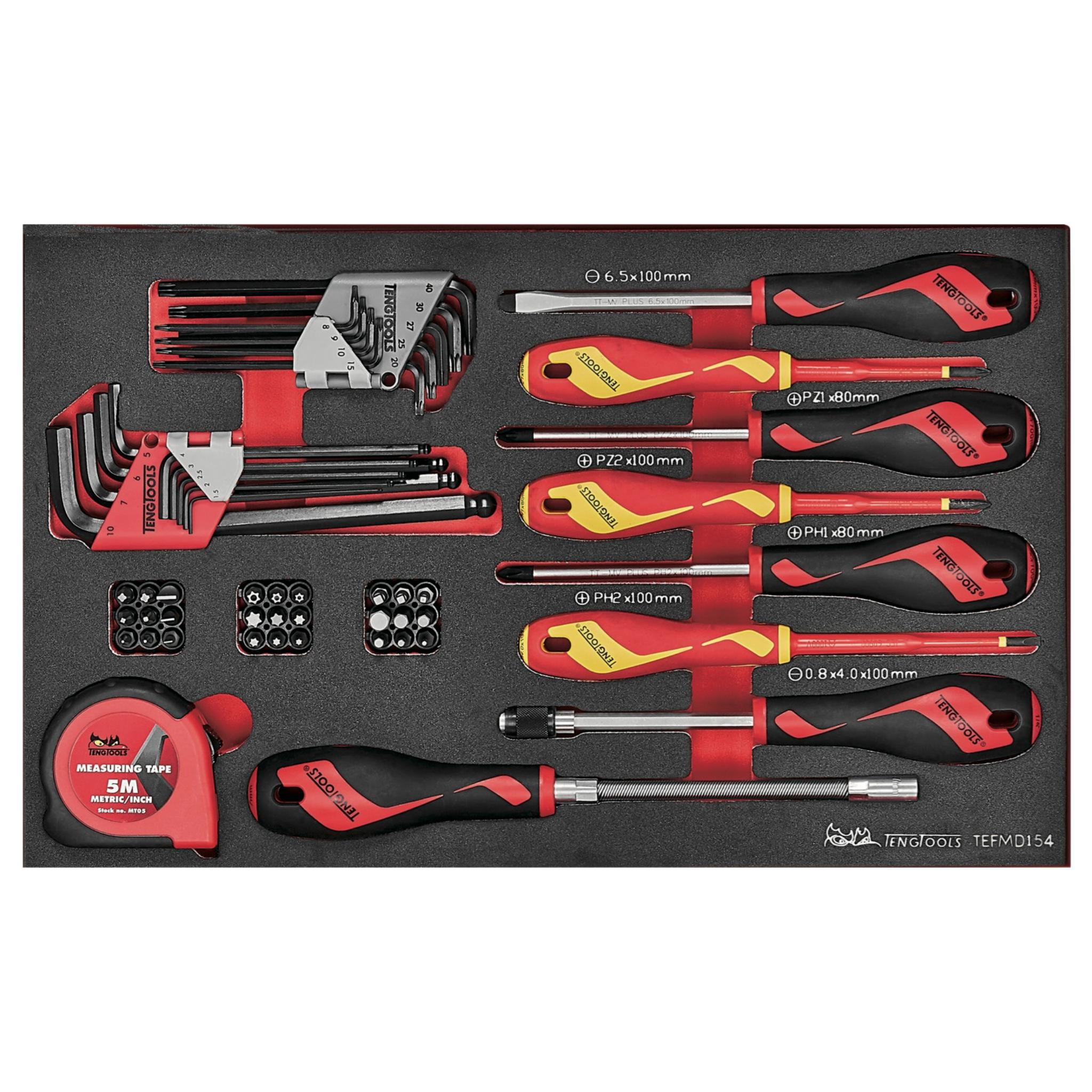 Teng Tools 54 Piece Mixed Screwdriver, Hex/TX Key, Bit, Quick Chuck Driver & Tape Set - TEFMDI54