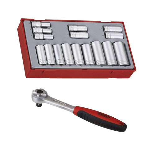 Teng Tools 3/8 Inch 16 Piece 6 Point 7 to 22mm Deep Sockets and 72 Teeth Ratchet Set Bundle - Teng Tools USA