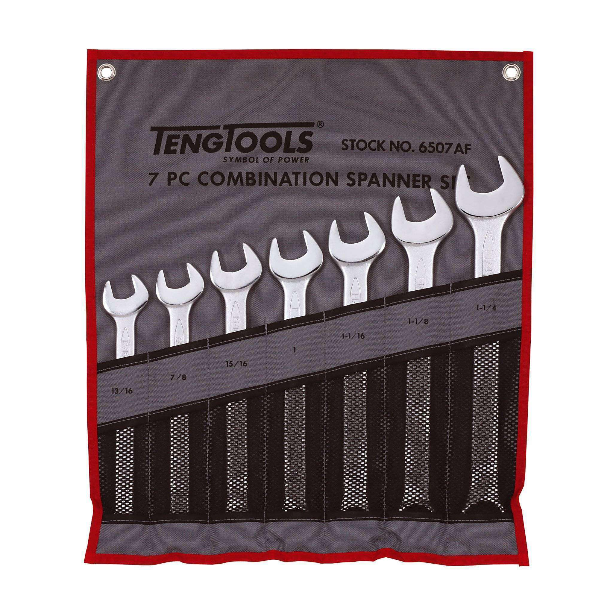 Teng Tools 6507AF - 7 Piece SAE Combination Spanner Set 13/16 to 1-1/4 Inch - Teng Tools USA