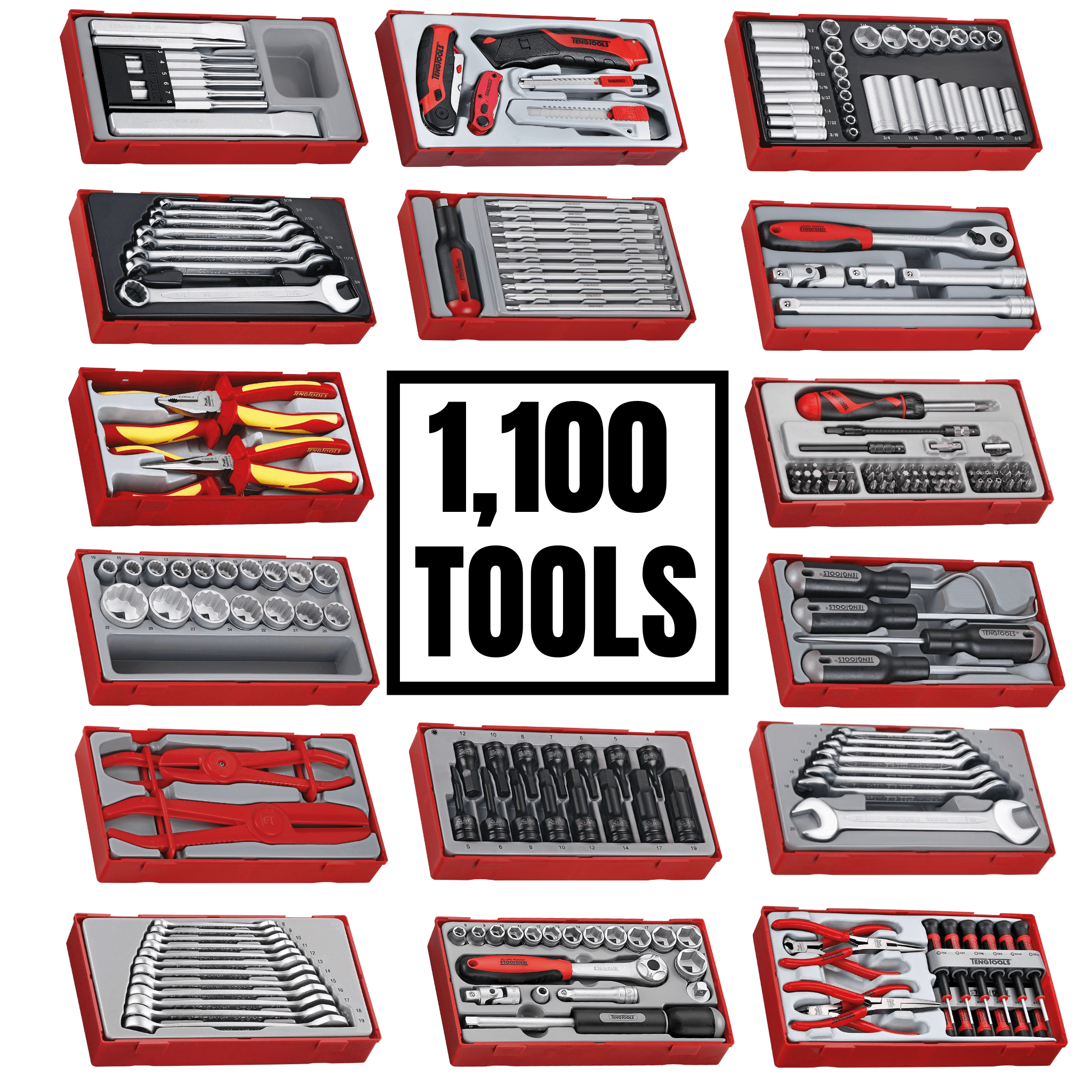 Teng Tools 1100 Monster Piece Mixed Hand Tool Bundle (No Storage) - TCMONSTERTOOLS