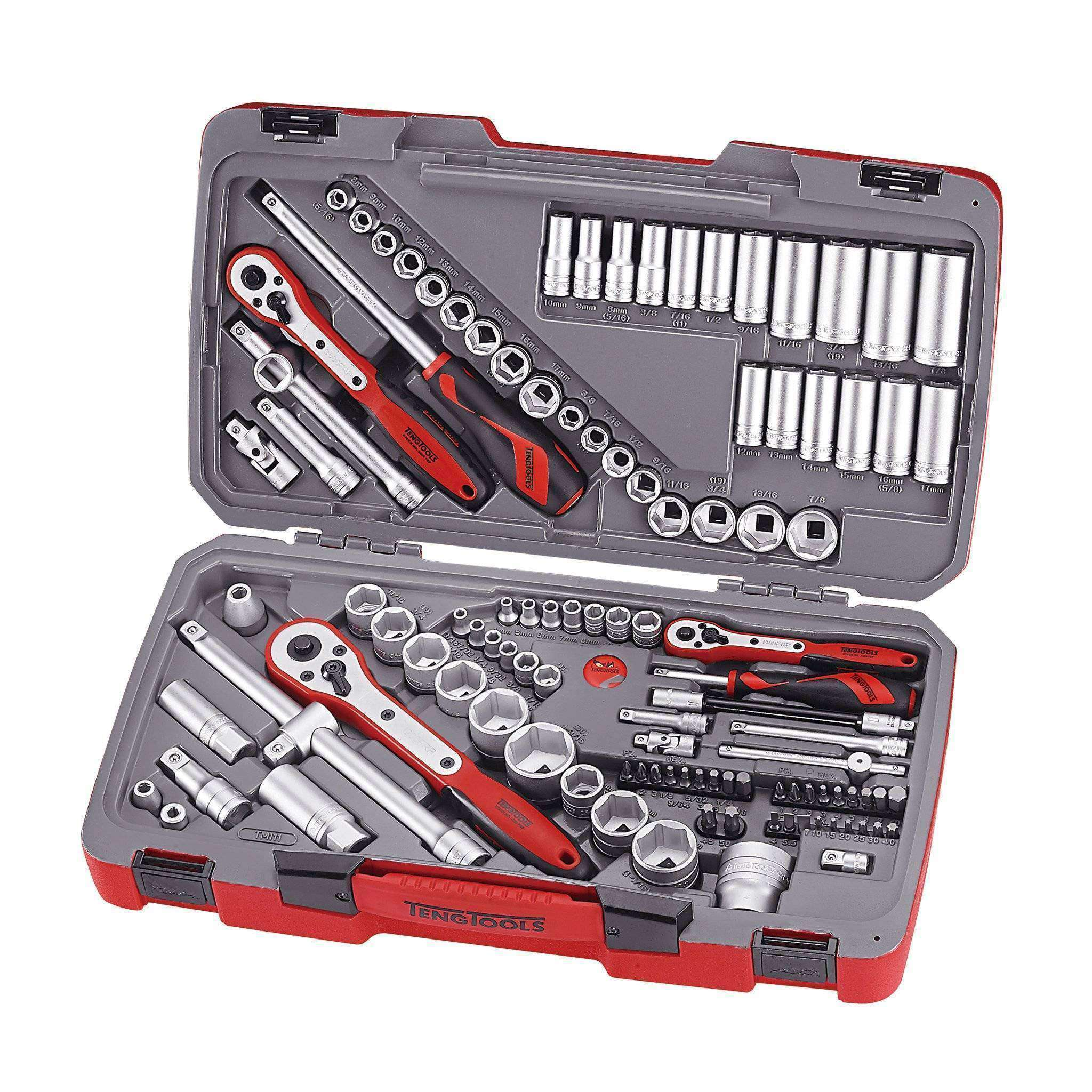 Teng Tools - 111 Piece Mixed Drive Socket Set 1/4, 3/8, 1/2 Inch - TEN-O-TM111 - Teng Tools USA