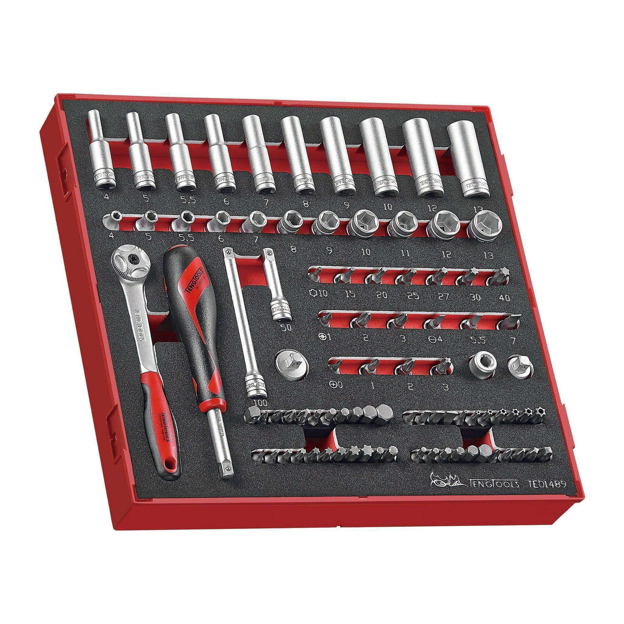 Teng Tools TED1489 - 89 Piece 1/4 inch Drive Socket Set in EVA Tray - Teng Tools USA