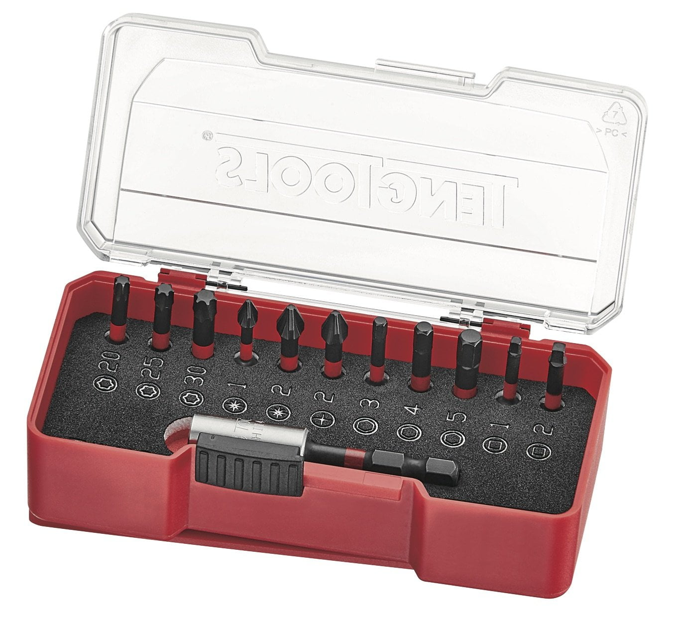 Teng Tools 12 Piece 1/4 Inch Drive Hex, Torx, Pozi, ROB Impact Screwdriver Bit Set - TJ1413