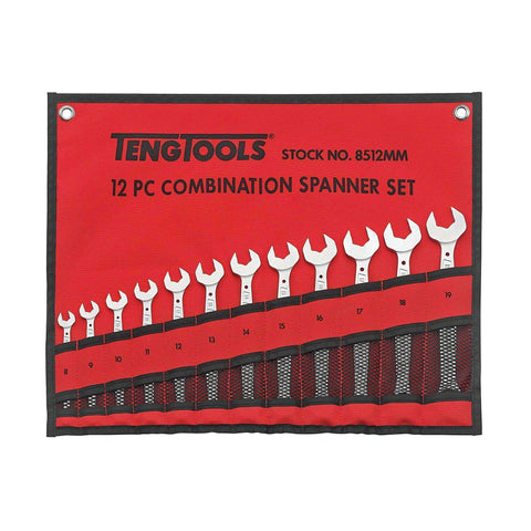 Teng Tools - 12 Piece Anti Slip Metric Combination Spanner Set 8-19mm - TEN-O-8512MM - Teng Tools USA