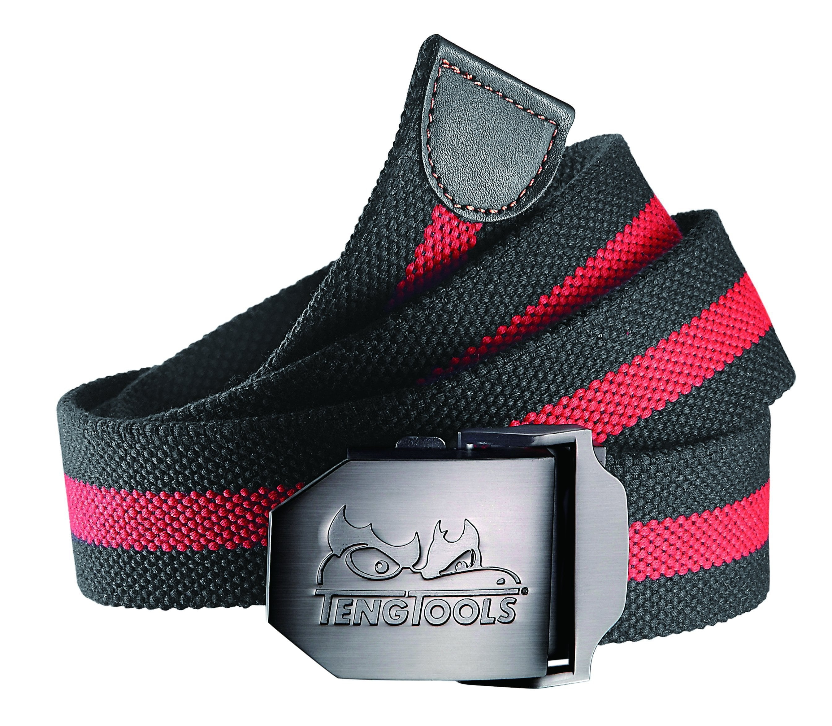 Teng Tools Adjustable Mens Black And Red Casual Classic Textile Belt with Metal Buckle - P-BET01