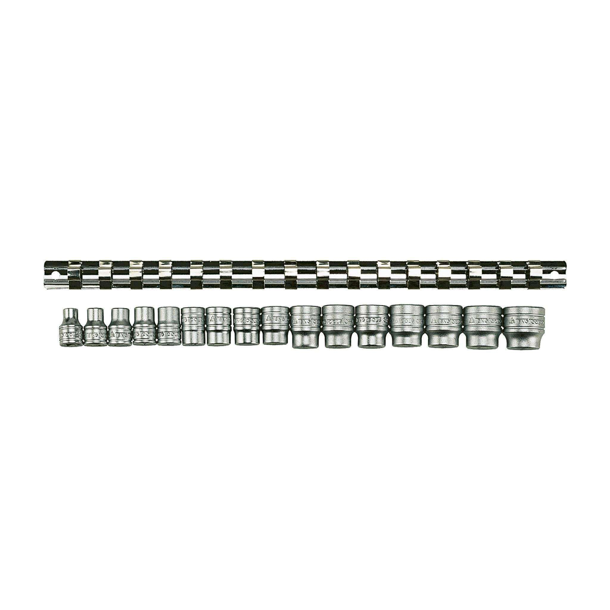 Teng Tools - 16 Piece 3/8 inch Drive Regular 6 Point Socket Set Clip Rail - M3816 - Teng Tools USA