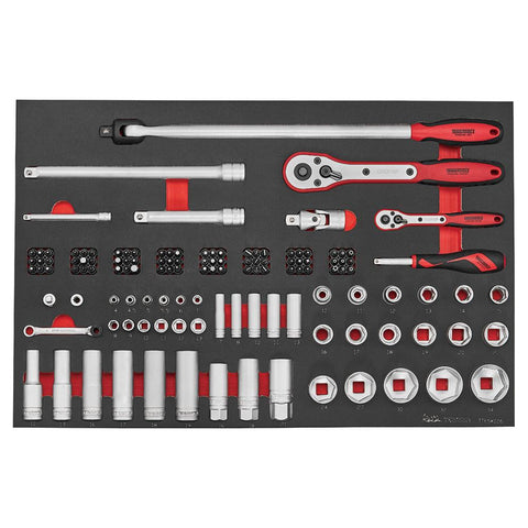 Teng Tools 126 Piece 1/4 and 1/2 Inch Drive Regular and Deep Socket and Accessories Set - TTESK126