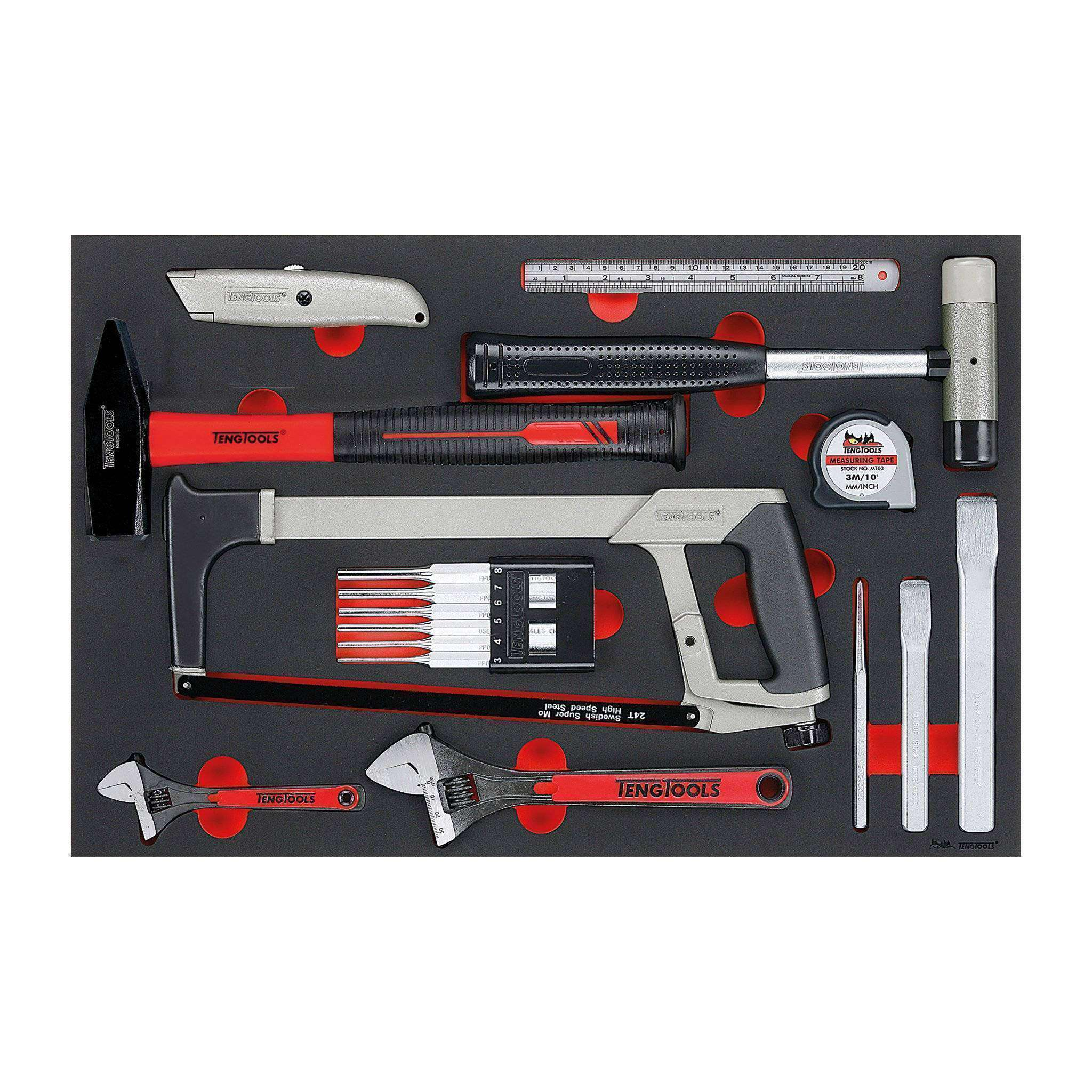 Teng Tools - 12 Piece General Service Tool Set - TEN-O-TTEPS12 - Teng Tools USA