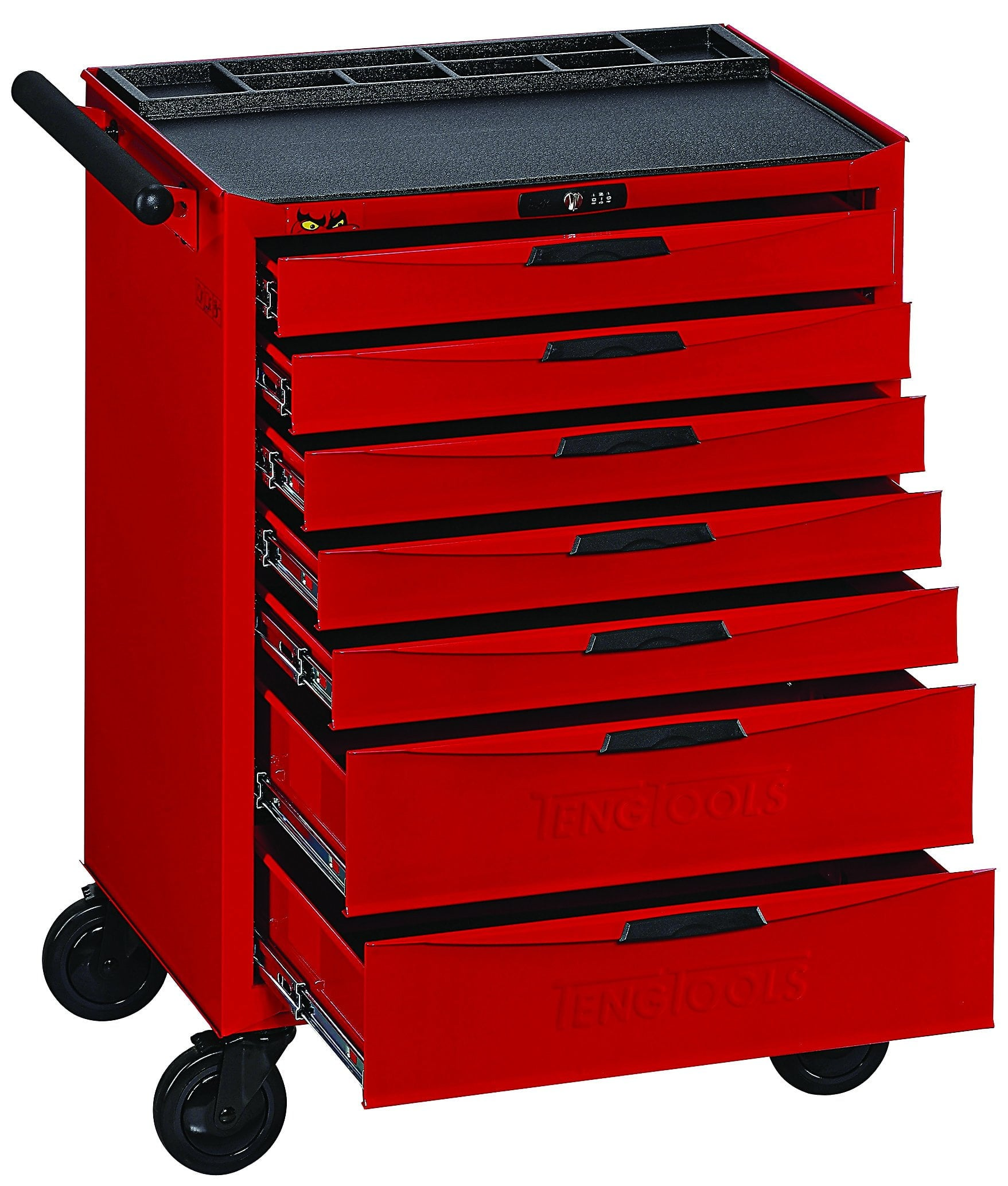 Teng Tools 174 Piece Complete Mixed EVA Foam 7 Drawer Roller Cabinet Hand Tool Kit - TCMME174