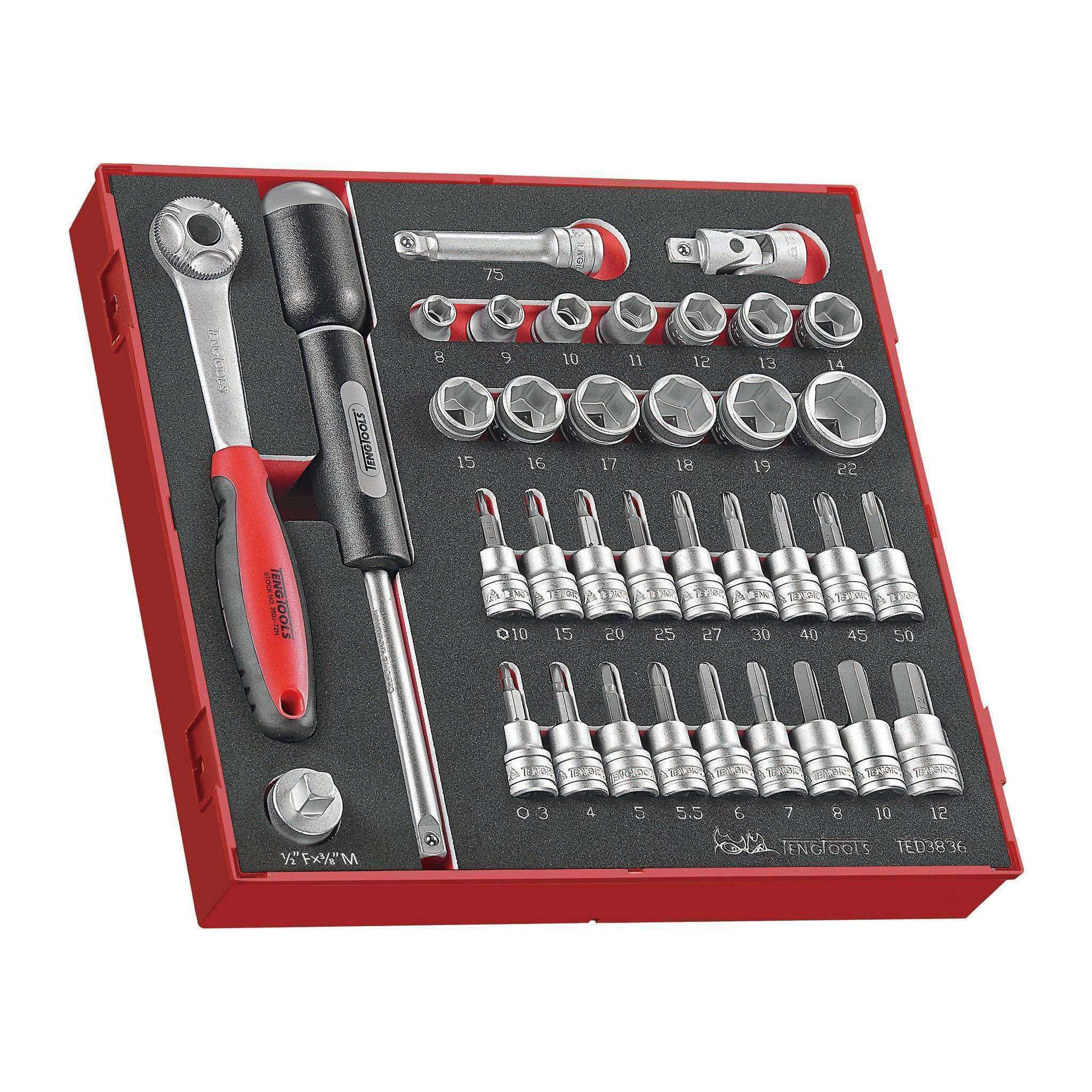 Teng Tools - 36 Piece 3/8 inch Drive Socket Set in EVA Tray - TEN-O-TED3836 - Teng Tools USA